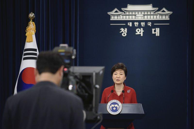 南韓總統朴槿惠6日發表勞動條件改革演說,提出「薪資高峰系統」計劃。(美聯社)