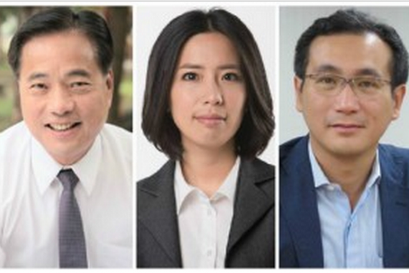 左起陳根德(國民黨)、王寶萱(第三勢力)、鄭運鵬(民進黨),照片均取自三位參選人臉書。