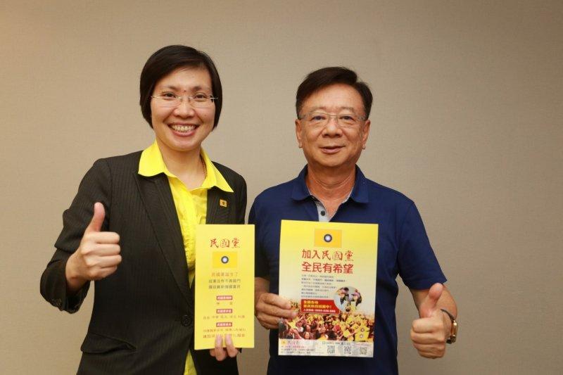 聯電榮譽副董事長宣明智(右)宣布加入民國黨,左為民國黨黨主席徐欣瑩。(民國黨提供)