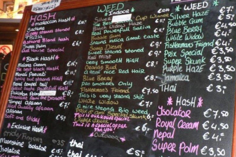 荷蘭阿姆斯特丹的大麻咖啡館菜單。(圖片來源:thejetpacker.com)