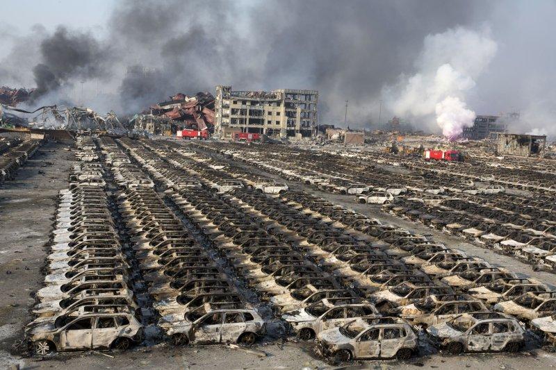 天津大爆炸造成許多駐中產業損失慘重。(美聯社)