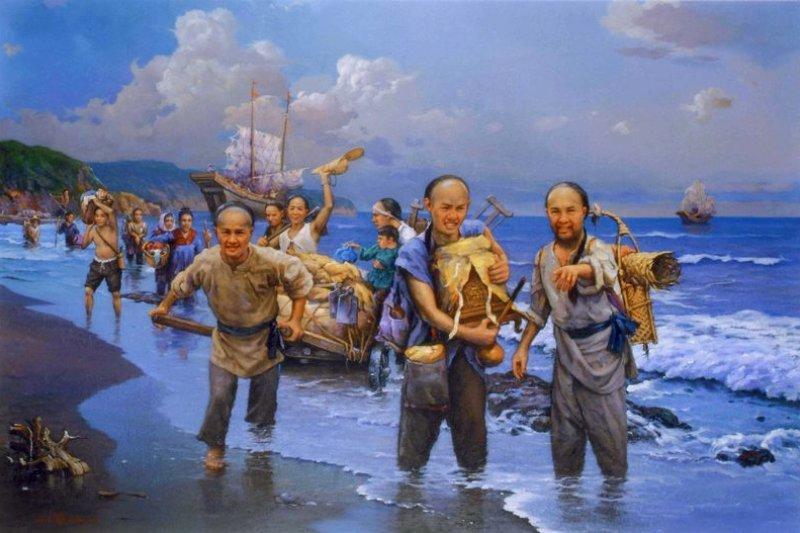 圖為曾盛俊油畫作品〈唐山過台灣〉。(取自桃園市政府文化局網站)
