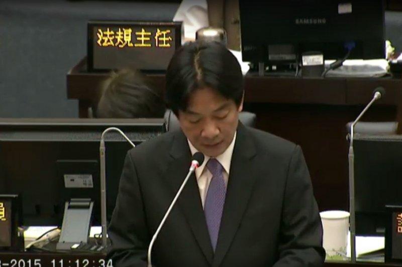 台南市長賴清德28日重回市議會報告。(取自台南市議會議事影音直播)