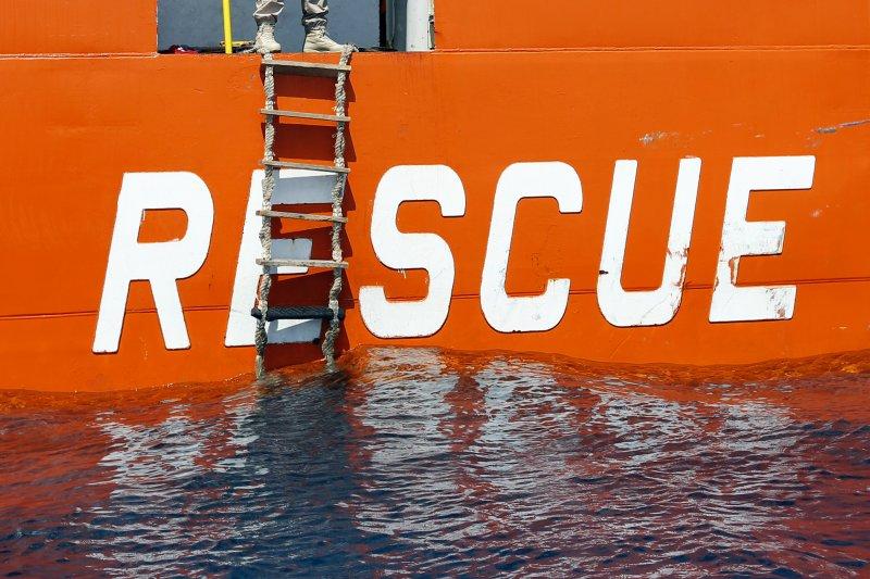 正在地中海執行搜救任務的挪威海岸警備隊。(美聯社)