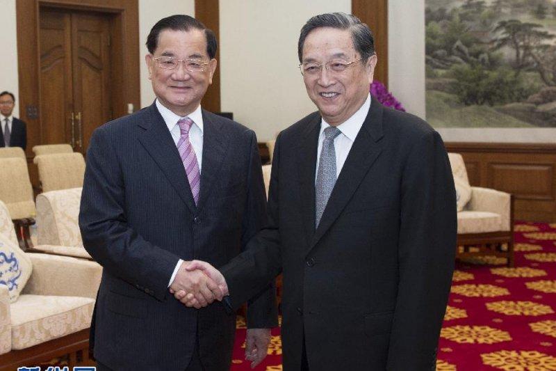 連戰與俞正聲在釣魚台國賓館見面。(新華社)