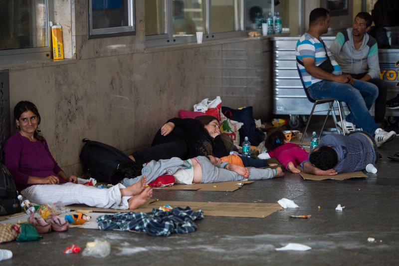 慕尼黑中央車站的難民。(美聯社)