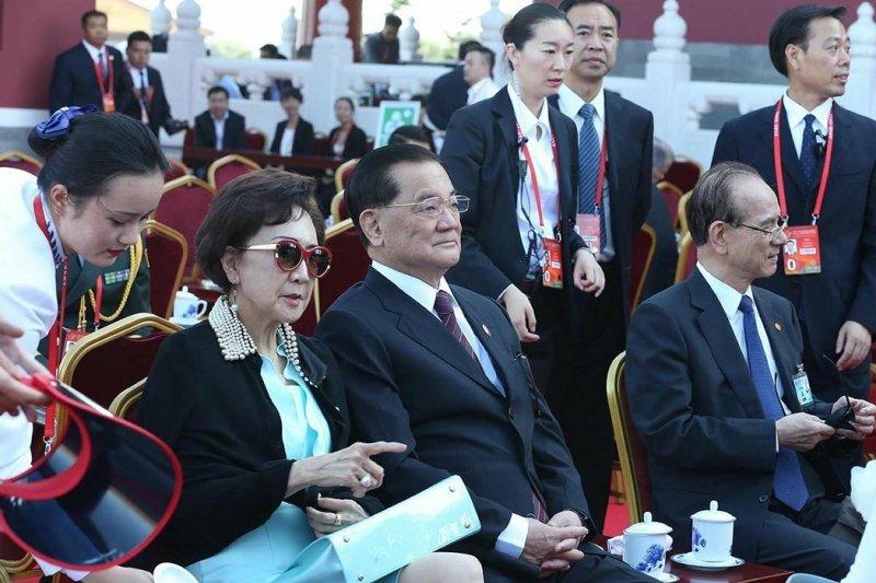 中國國民黨前主席連戰參加北京九三大閱兵(中新社)