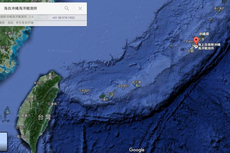 美日在沖繩以南鋪設的最新型SOSUS,恰好涵蓋整個宮古海峽。(Google地圖)