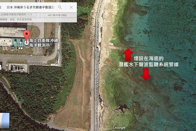 從Google地圖的衛星照片上,確實可以看到共同社所稱的電纜鋪設痕跡。(Google地圖)