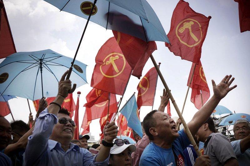 新加坡大選期間的反對黨─工人黨。(美聯社)