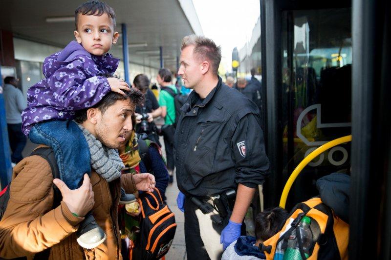 剛抵達慕尼黑的難民(美聯社)。