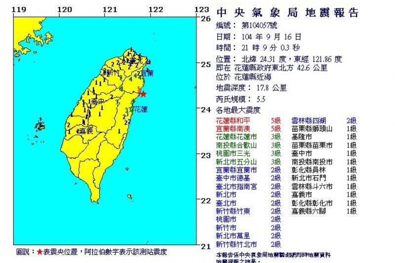 16日晚間9時9分又發生地震,震央位置在花蓮縣政府東北方42.6公里、花蓮縣近海附近,芮氏規模5.5。(取自中央氣象局)