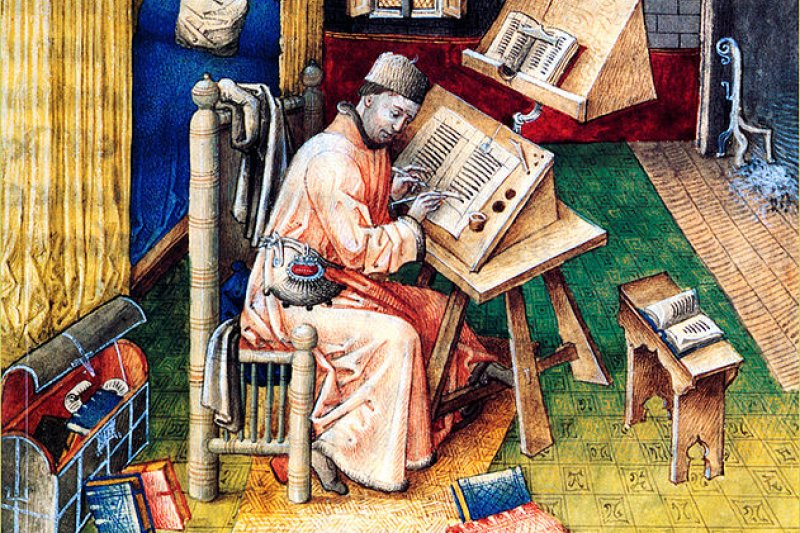 """寫信跟家裡要錢,可不是現代大學生的專利。(圖為""""Jean Miélot at his desk 15th century"""")"""