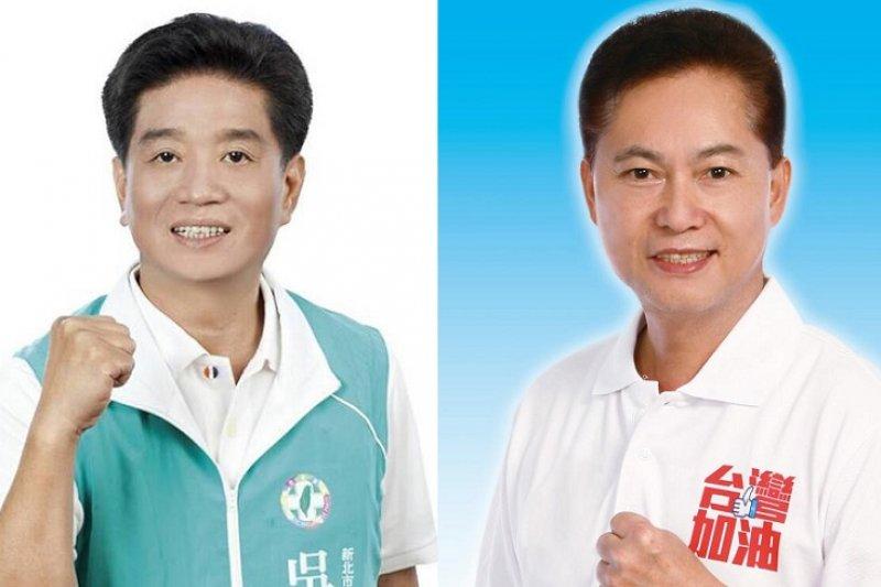 新北市十區兩位參選人吳琪銘(左,民進黨)和盧嘉辰(右,國民黨)。(取自兩人臉書)