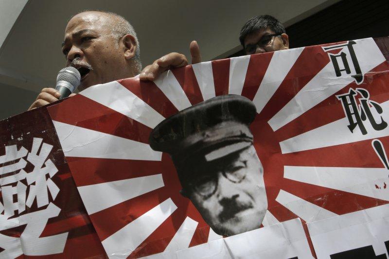 香港民眾抗議日本國會通過安保法案(美聯社)