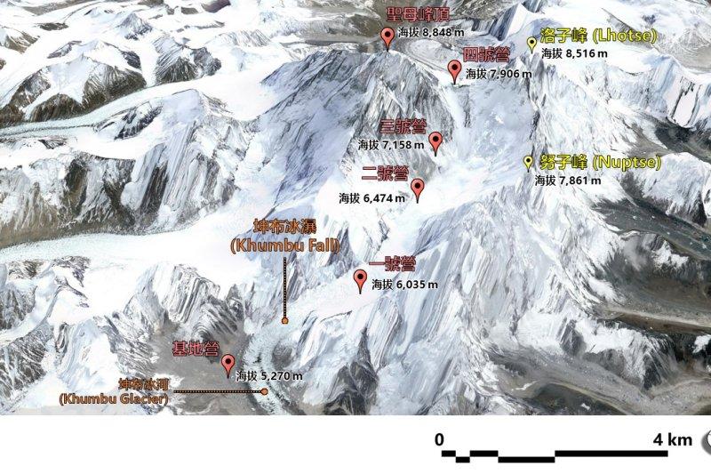 聖母峰頂區域西南側鳥瞰圖(圖片來源:Google Earth整理)