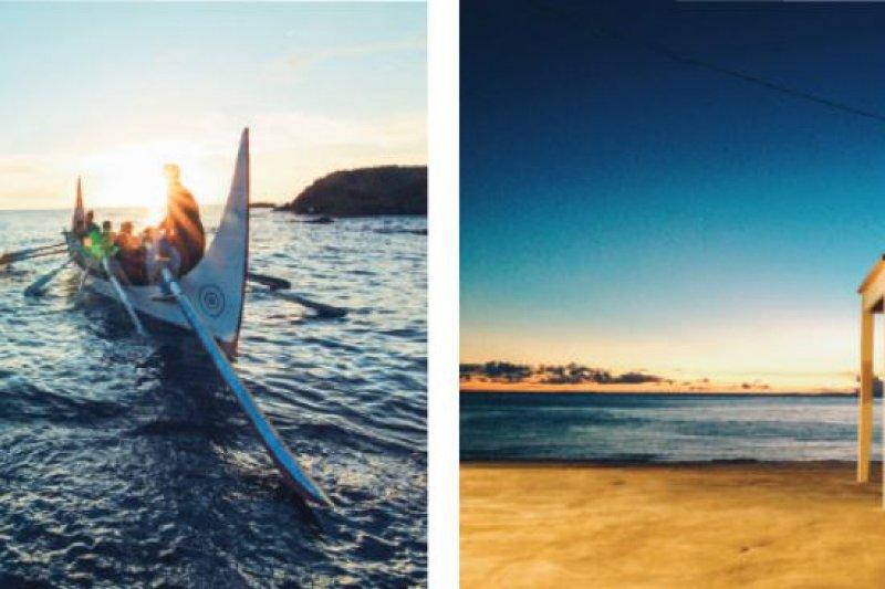 (左)從窗戶看出去的拼版舟出海景象。(右)置身於海景之中的大陽臺,也擺上最愛的家具。