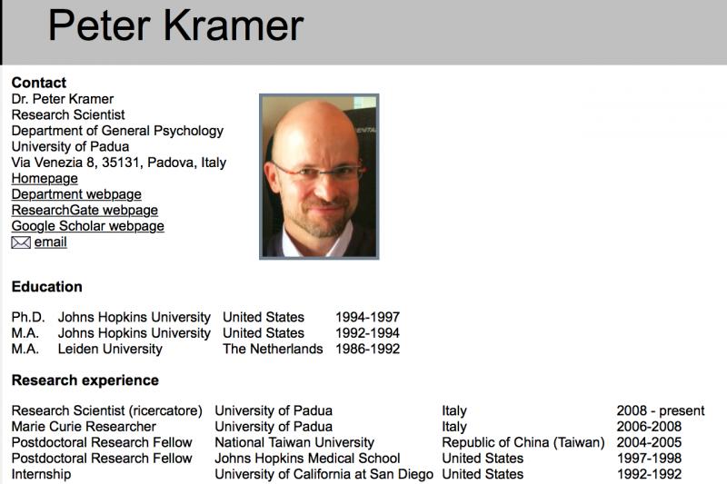 帕多瓦大學的心理學家克萊默。