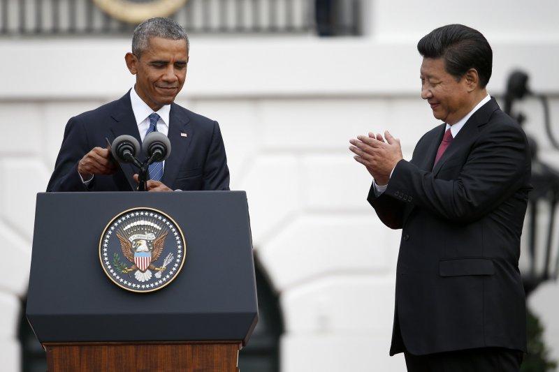 歐巴馬致詞時,習近平鼓掌。(美聯社)