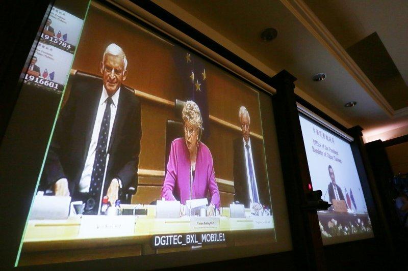 總統馬英九與歐洲議會舉行視訊會議。(總統府提供)