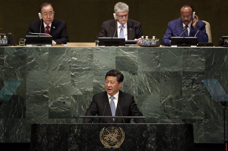 習近平在聯合國大會上發表演說。(資料照,美聯社)