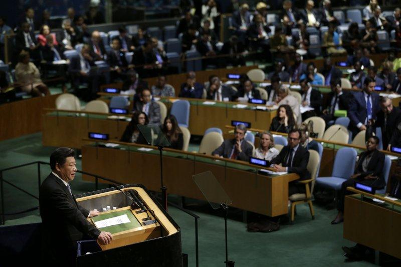 習近平在聯合國大會上發表演說。(美聯社)