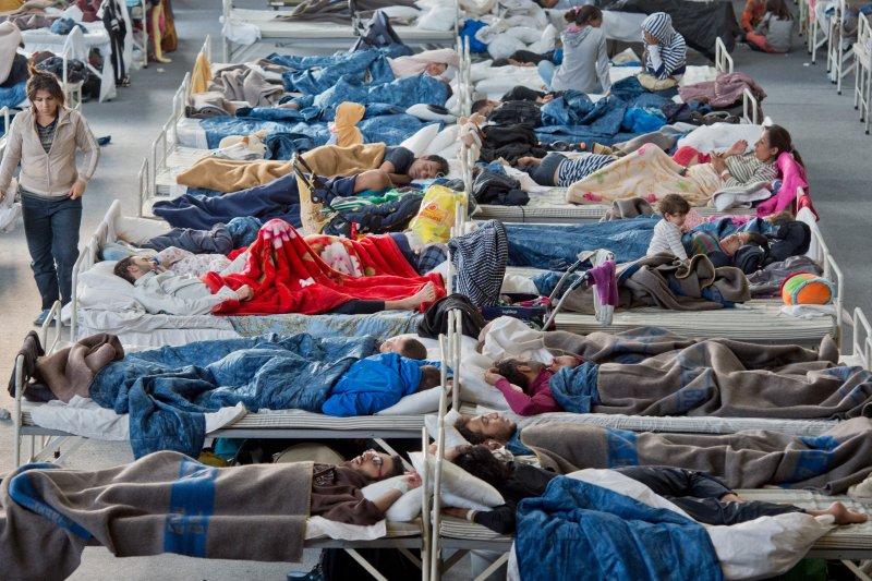 德國哈瑙(Hanau)難民營中的難民。(美聯社)