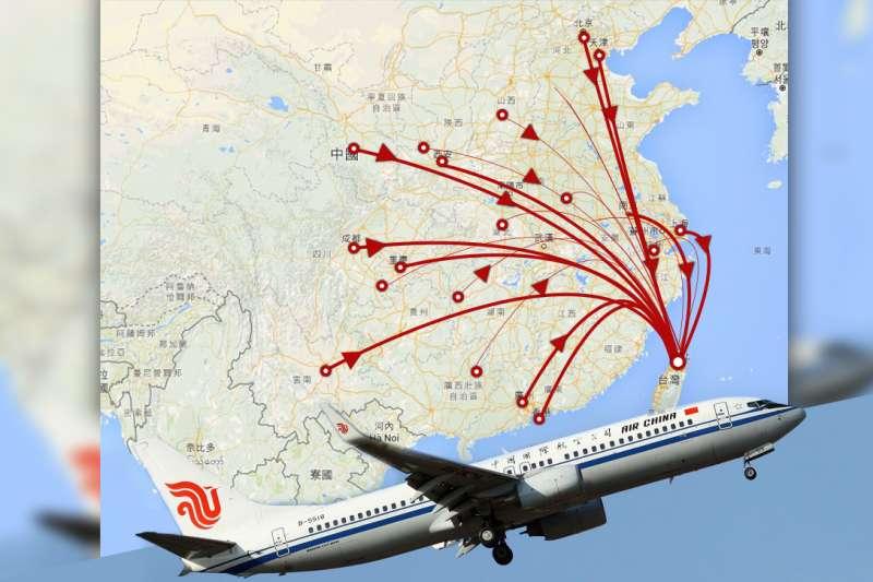 大陸台企聯成員透露,國台辦至今尚未協調中國民航總局出面,與航空公司討論票價和機位,台商返台投票人數可能大受影響。 (取自中國國際航空官網、Google map/影像合成:風傳媒)