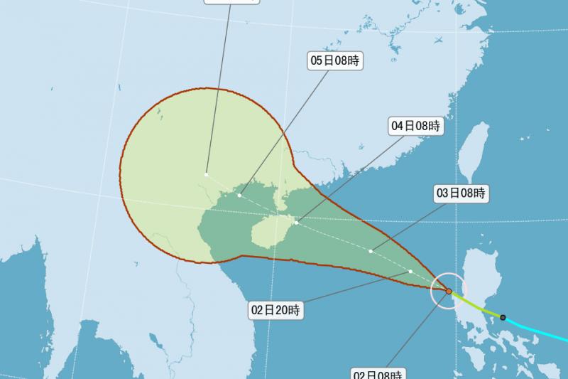 今年第22號颱風彩虹,目前已脫離菲律賓往海南島移動,但帶來的外圍環流會讓恆春、台東出現短暫陣雨。(圖片取自氣象局)