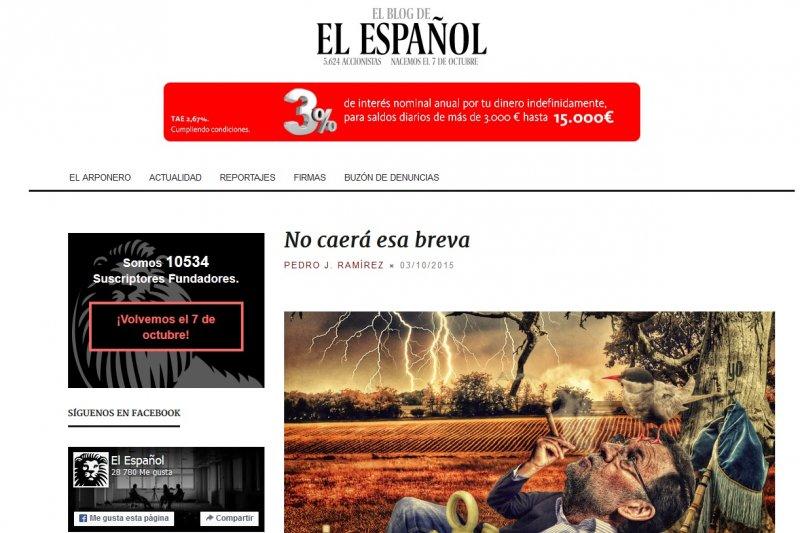 全球首個利用群募集資的網路媒體《西班牙報》(El Español),將在7日正式上線。(取自官網)
