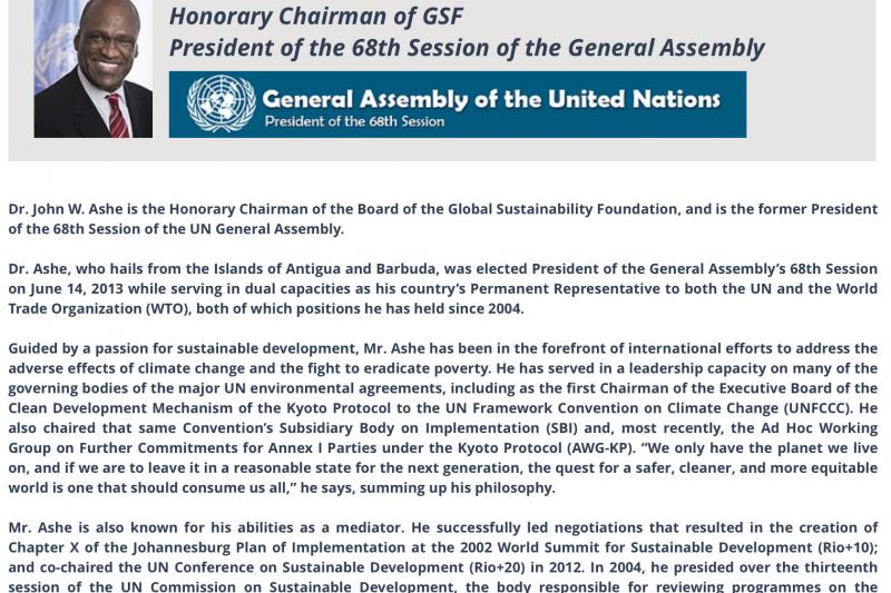 擔任全球可持續發展基金會榮譽主席的艾希。(取自全球可持續發展基金會官網)