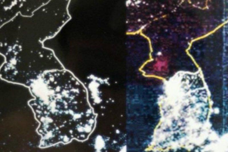 衛星拍攝照片:北韓的黑暗與南韓的燈火通明形成鮮明對比。(BBC中文網)