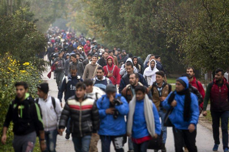 正從匈牙利試圖步行前往奧地利的大批難民與移民。(美聯社)