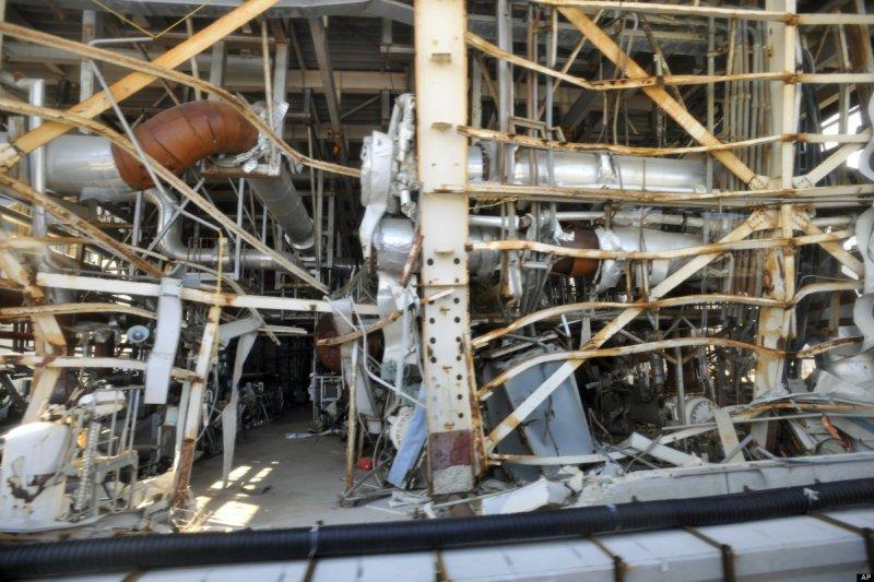 2012年福島第一核電廠全毀的景象(美聯社)
