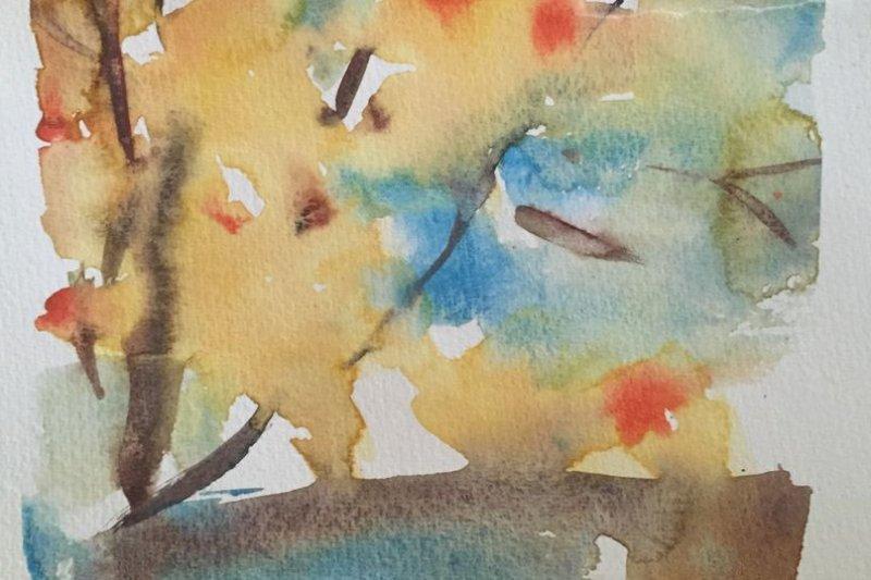 作者畫作《秋》。(作者提供)