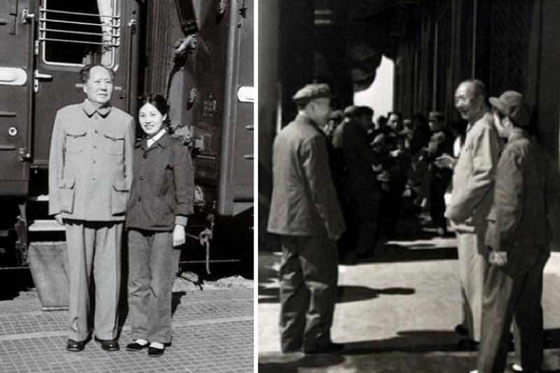 毛澤東和張玉鳳(左,1964/右,1970,左側為林彪)。(新華社資料照)