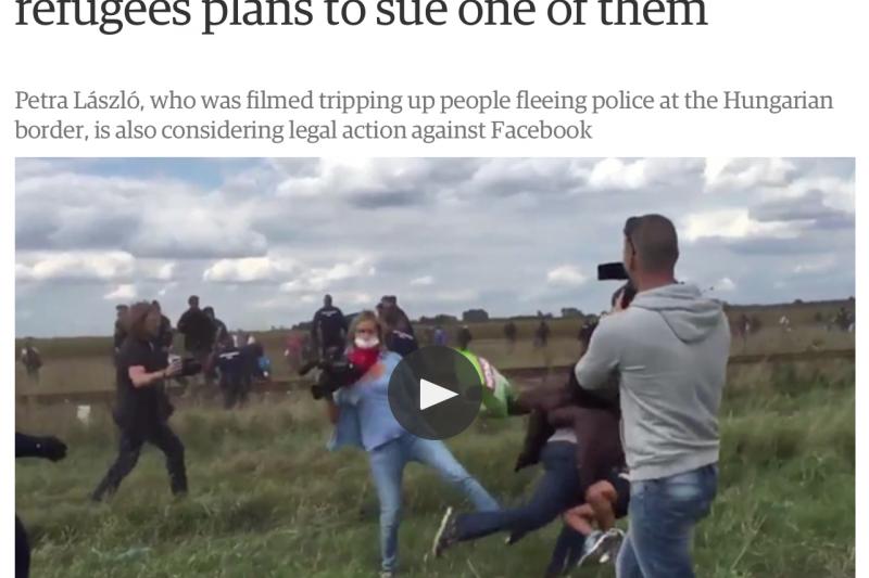 匈牙利踢人女記者拉斯洛竟然揚言要告難民與臉書。