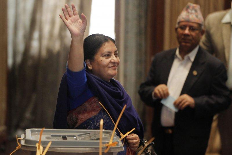 尼泊爾聯邦民主共和國歷來第一位女總統班達里(Bidhya Devi Bhandari)(美聯社)