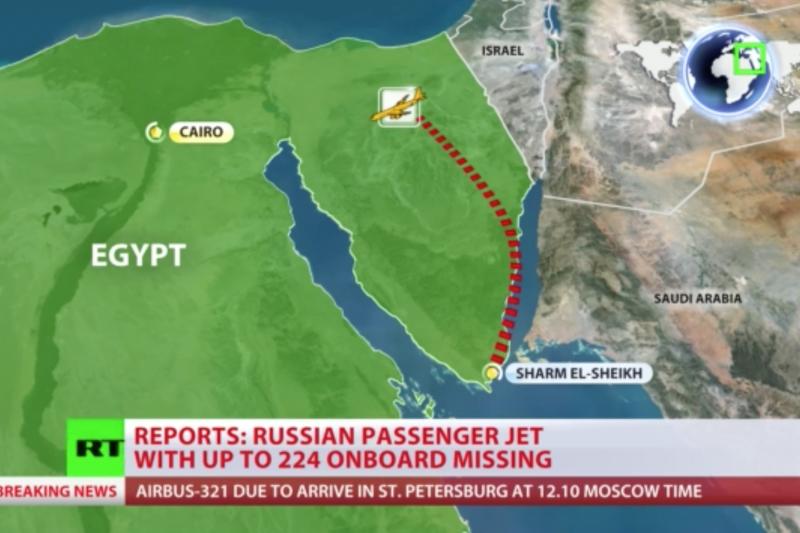 失事俄羅斯客機的飛行路徑。(今日俄羅斯)