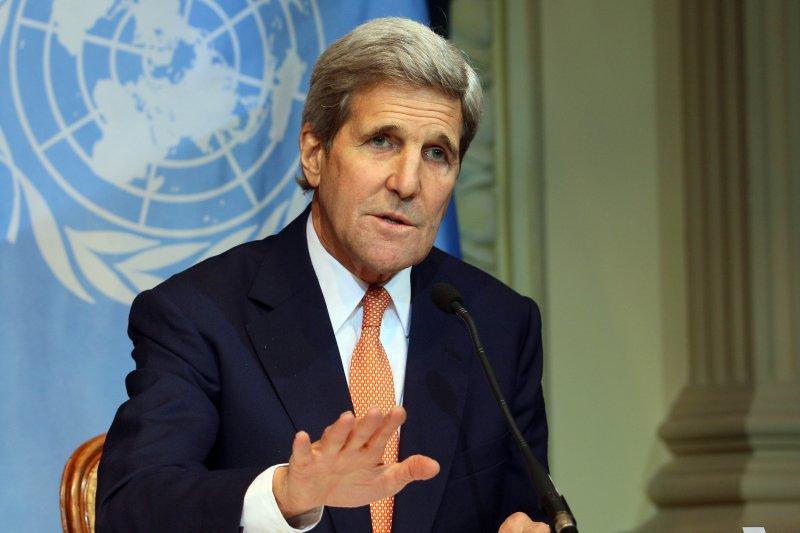 凱瑞29日出席敘利亞內戰外交部長級多邊會談。(美聯社)