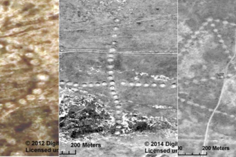 根據NASA照片,哈薩克境內出現距今約8000年前的巨大圖騰。(取自推特)