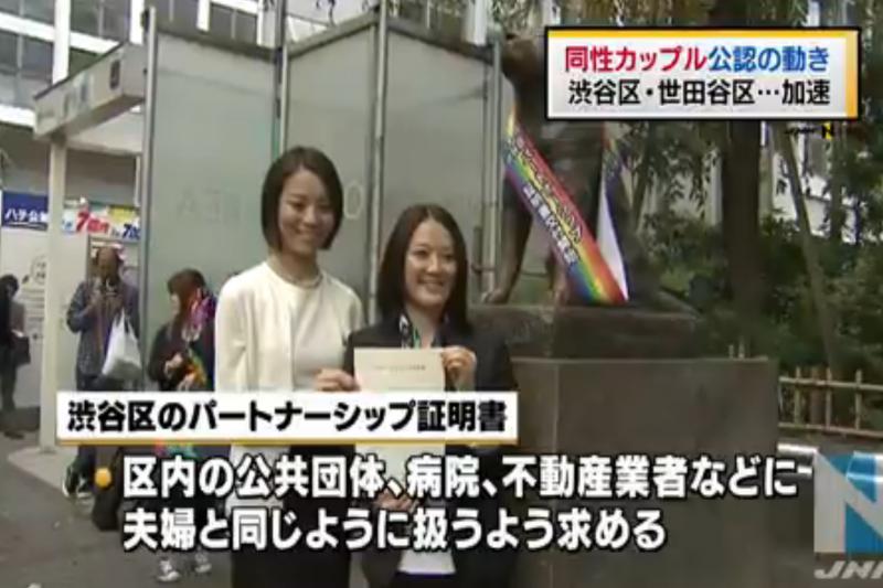 澀谷區,同性伴侶。(翻攝Youtube)
