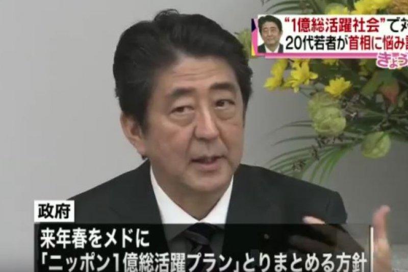 日本首相安倍晉三6日發表演說,提出新三支箭的具體政策。(翻攝影片)