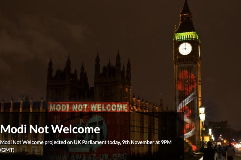「Awaaz Network」在倫敦國會大廈上投影「不歡迎莫迪」(MODI NOT WELCOME)。(Awaaz Network網站)