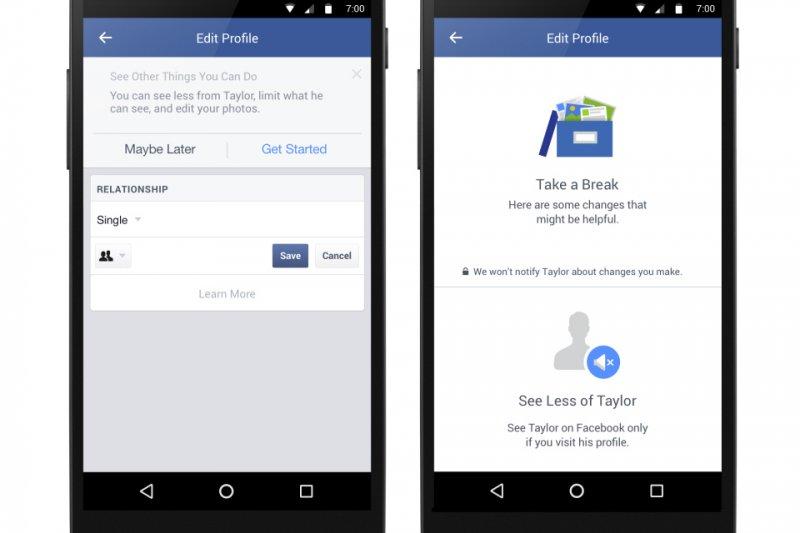 臉書推出新工具,緩解分手悲傷。(取自Facebook)