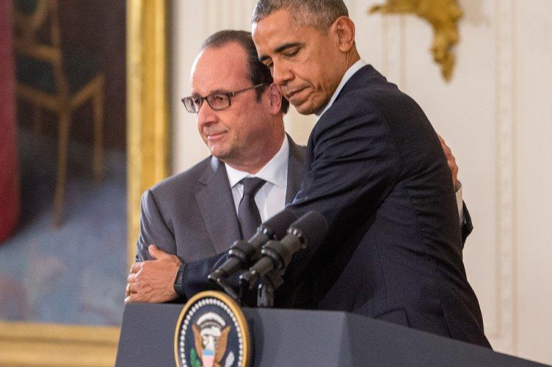 美國總統歐巴馬及法國總統奧朗德(美聯社)