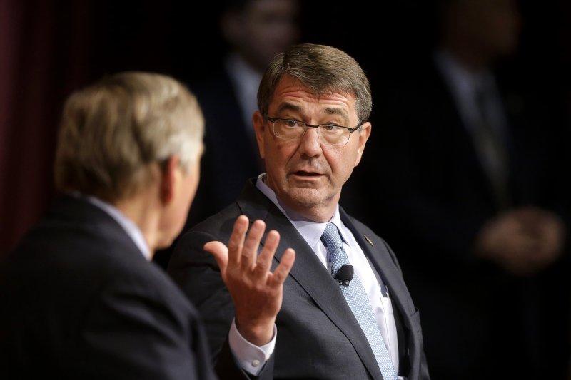 美國國防部長卡特2日發表演說,向國會開出5830億美元的預算規劃案。(美聯社)