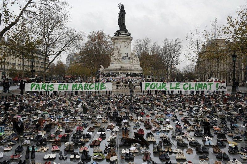 巴黎氣候峰會前夕和平示威現場(美聯社)