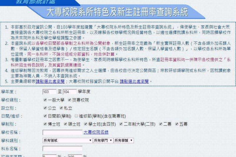 大專校院系所特色資訊及新生註冊率查詢系統(教育部統計處)