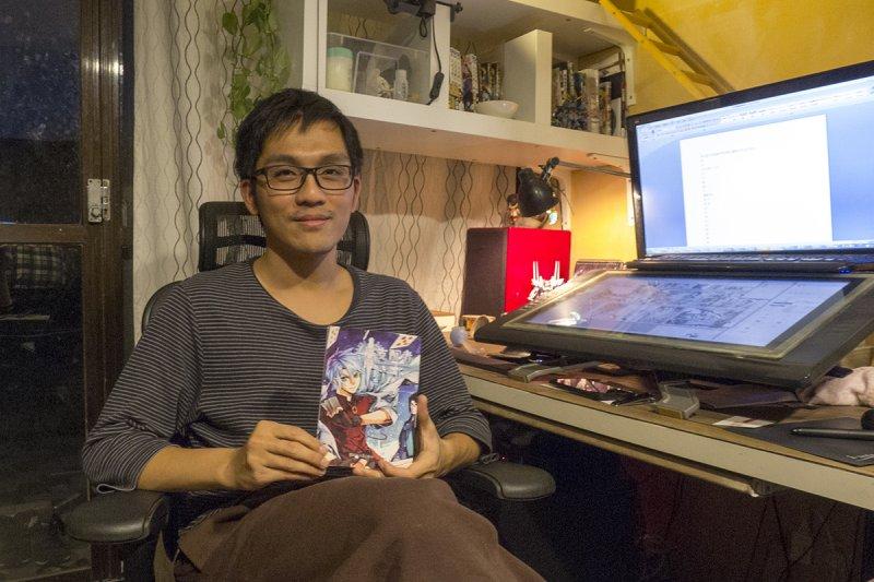 漫畫家彭傑以原創作品登上中國及日本舞台。(圖/郭丹穎攝)